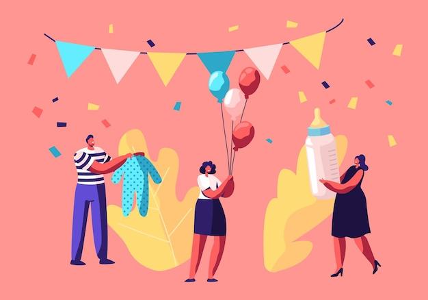 Kleine karakters houden van cadeaus voor pasgeboren baby in ingerichte feestzaal