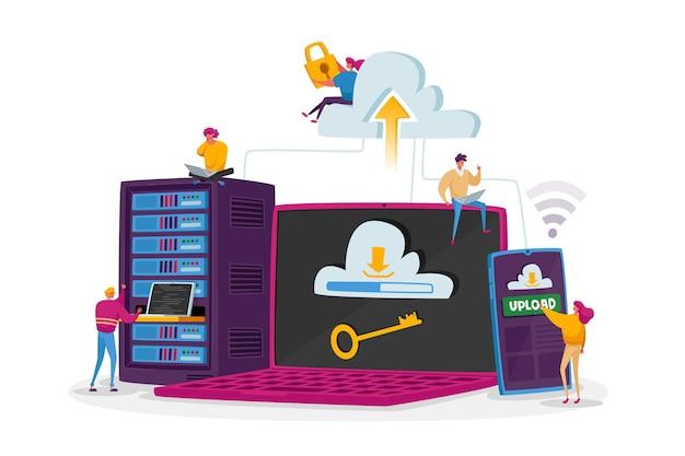 Kleine karakters op enorme laptop-, telefoon- en serverapparatuur. webhostingconcept. webprogrammering, ontwikkeling, interface voor cloudopslag