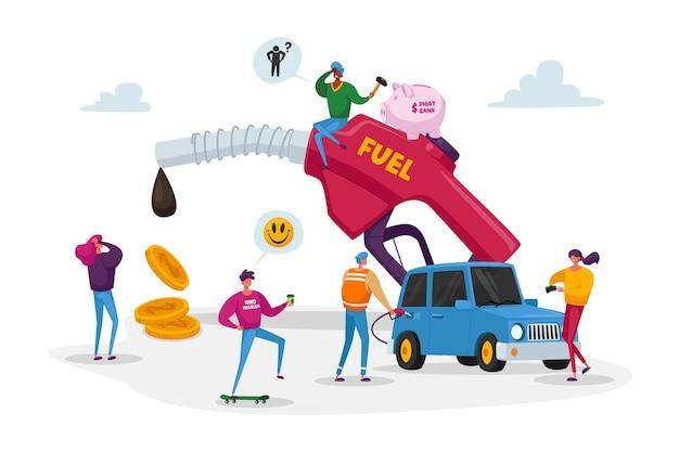 Kleine karakters rond enorme pompende benzineslang