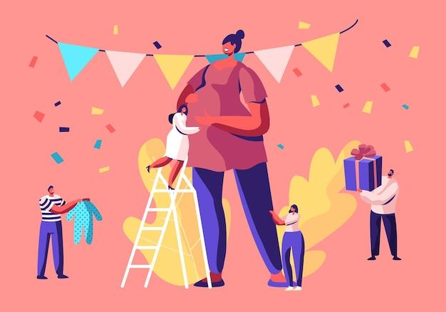 Kleine karakters staan op ladders rond enorme zwangere vrouw in ingerichte feestkamer en geven cadeautjes