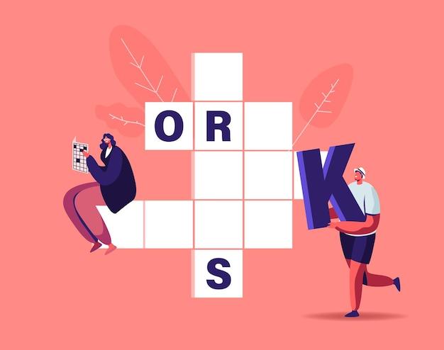 Kleine karakters zetten enorme letters in lege kruiswoordraadsels.