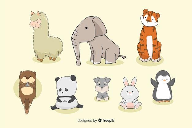 Kleine kawaii dierenverzameling in de hand getekend