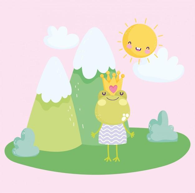 Kleine kikker met kroon en jurk natuur cartoon schattige tekst