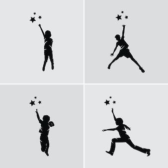 Kleine kinderen die het sterrenlogo bereiken