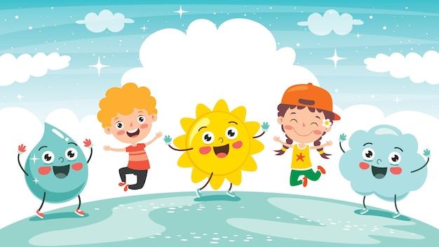 Kleine kinderen en natuurelementen