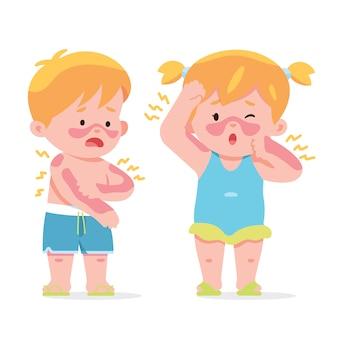 Kleine kinderen krijgen zonnebrand in de zomerdag