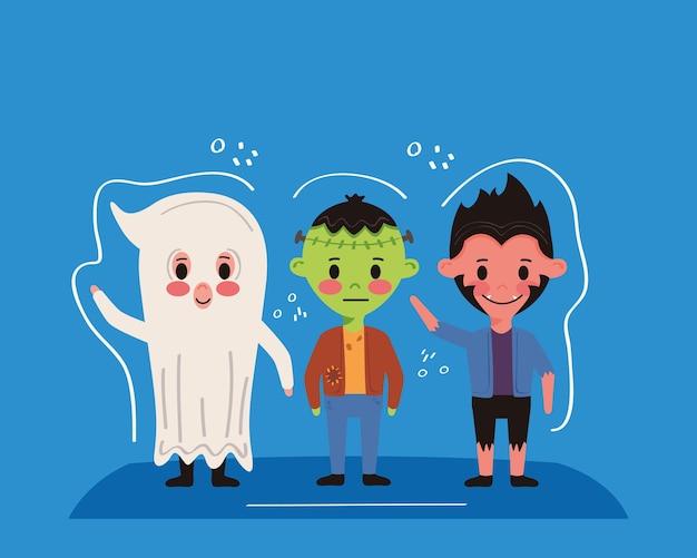 Kleine kinderen met halloween-kostuums
