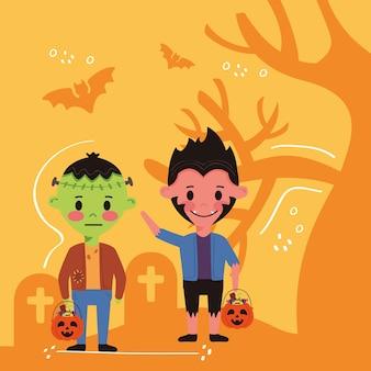 Kleine kinderen met karakters van halloween-kostuums op begraafplaats