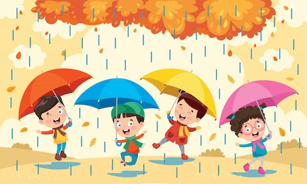 Kleine kinderen met paraplu's Premium Vector