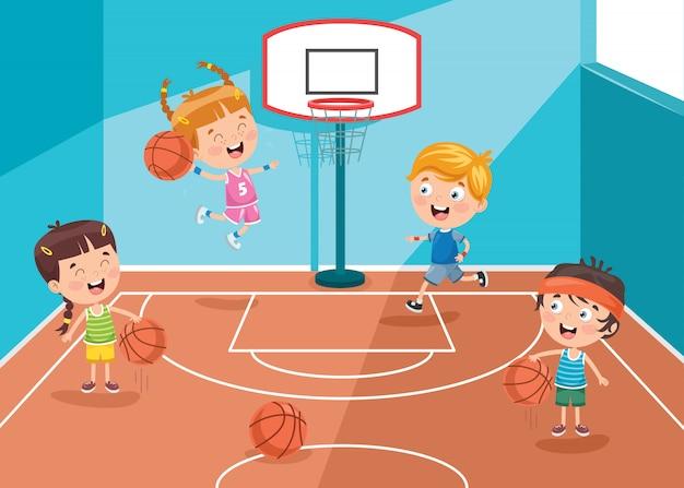 Kleine kinderen spelen basketbal