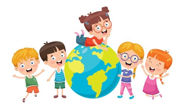 Kleine kinderen spelen met globe