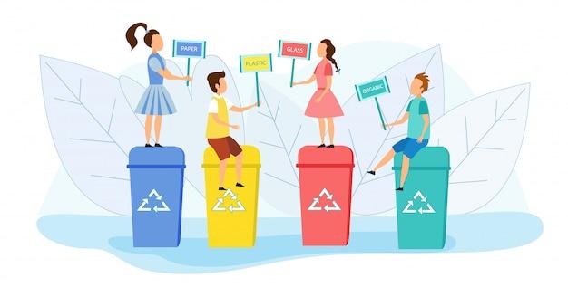 Kleine kinderen staan en zitten op afvalbakken