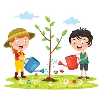 Kleine kinderen tuinieren en planten