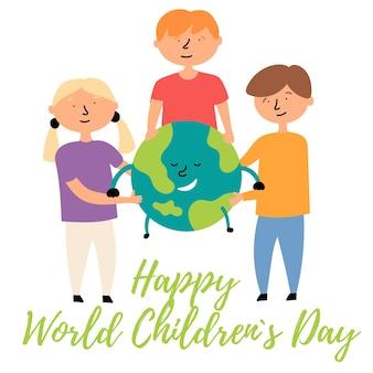 Kleine kinderen verschillende nationaliteiten knuffelen planeet aarde wereld kinderdag