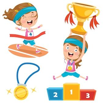 Kleine kinderen vieren kampioenschapswinst