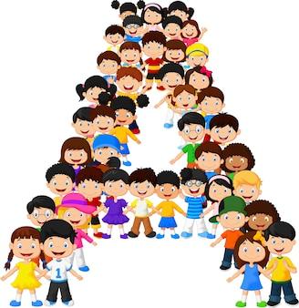 Kleine kinderen vormen alfabet a