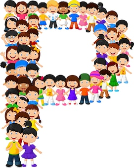 Kleine kinderen vormen alfabet p