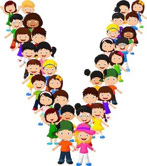 Kleine kinderen vormen alfabet v