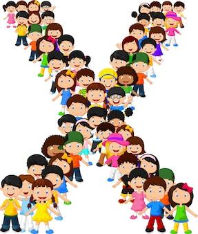 Kleine kinderen vormen alfabet x