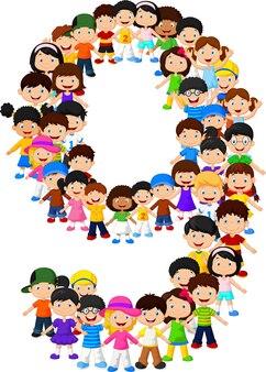 Kleine kinderen vormen nummer negen