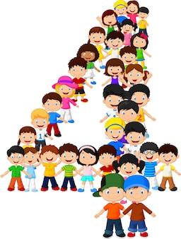 Kleine kinderen vormen nummer vier Premium Vector