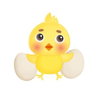 Kleine kip en eieren.