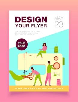 Kleine kleermakers maken outfit en kleding op de flyer-sjabloon van de naaimachine