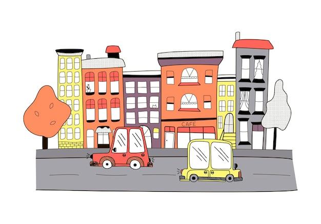 Kleine kleur stad in doodle stijl. schattige huizen met auto's op een weg met cafés en bomen