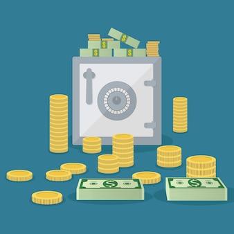 Kleine kluis met munten en bankbiljetten