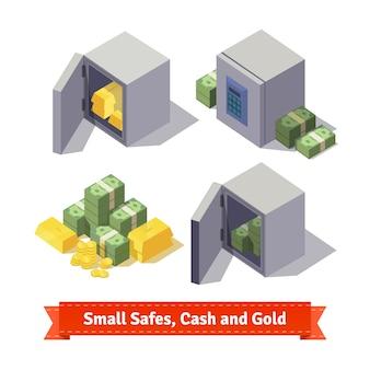Kleine kluisjes met gouden staven en contant geld