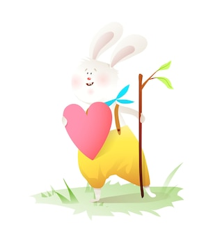 Kleine konijn in liefde cartoon.