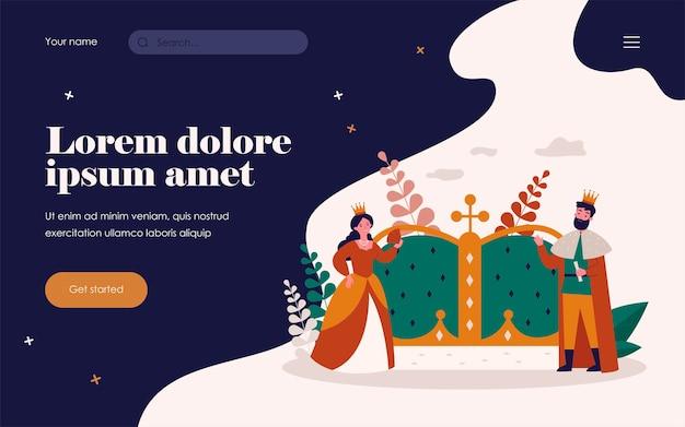 Kleine koning en koningin in de buurt van grote kroon geïsoleerd platte vectorillustratie. koninklijke stripfiguren als een symbool van overheidsgezag. aristocratie en monarchie concept