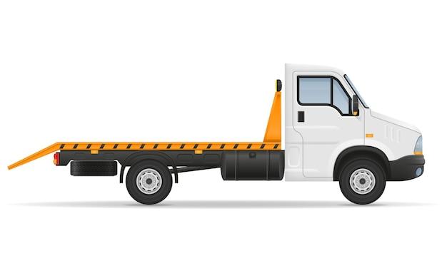 Kleine kraanwagen van vrachtwagen voor vervoer van auto op wit