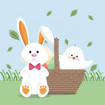 Kleine kuiken en konijn paaskaart