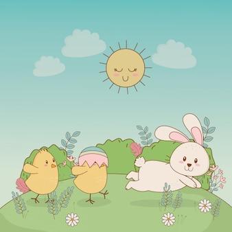 Kleine kuikens met konijn-pasen tekens