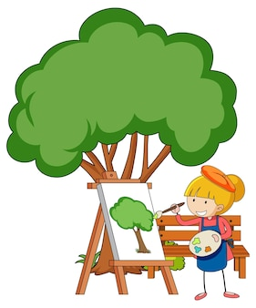 Kleine kunstenaar die een boomtekening trekt die op witte achtergrond wordt geïsoleerd