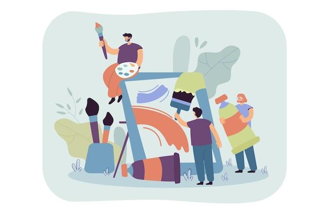 Kleine kunstenaars die samen een platte illustratie maken. cartoon afbeelding