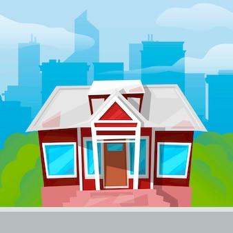 Kleine landhuis grote blauwe ramen op groen gras blauwe stadsgezicht.