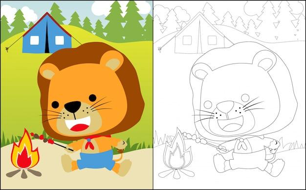 Kleine leeuw cartoon kamperen