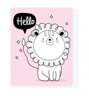 Kleine leeuw praten bubble schattige dieren schets wild cartoon schattig