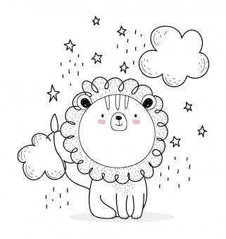 Kleine leeuw wolken sterren schattige dieren schets schattige dieren cartoon
