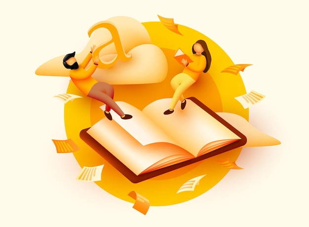 Kleine lezende mensen die boven het boek vliegen