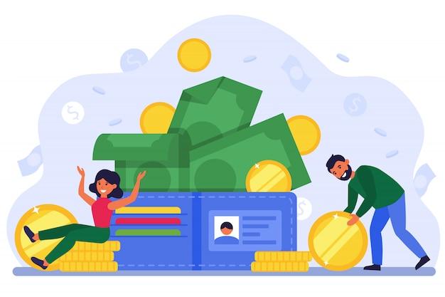 Kleine man en vrouw met grote open portemonnee