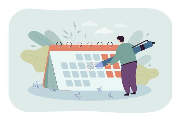 Kleine man voor gigantische kalender cartoon afbeelding.