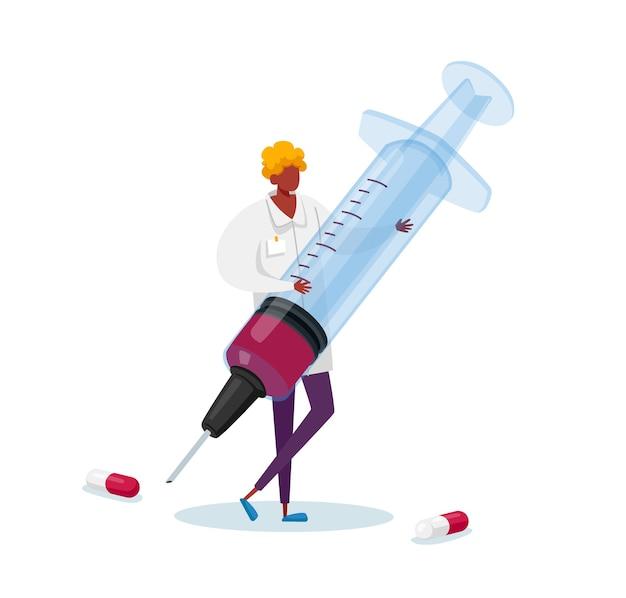 Kleine mannelijke arts karakter in medische mantel houden enorme spuit met medicijnen voor hepatitis vaccinatie, leverbehandeling in kliniek of ziekenhuis, gezondheidszorg, geneeskundezorg. tekenfilm
