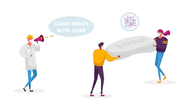 Kleine mannelijke en vrouwelijke personages die medische gezichtsmaskers dragen, dragen enorme antibacteriële zeep