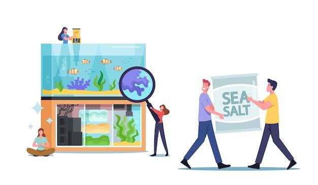Kleine mannelijke en vrouwelijke personages in de buurt van enorm aquarium met verschillende decoraties voor vissen, zeewier en koralen, decoratie op de bodem, mensen die zorgen voor waterhuisdieren, aquaristiekhobby. cartoon vectorillustratie