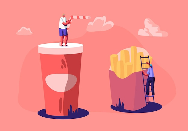 Kleine mannelijke en vrouwelijke personages interactie met enorme frietjes en beker met frisdrank.