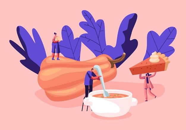 Kleine mannelijke en vrouwelijke personages koken en eten van traditionele thanksgiving-gerechten