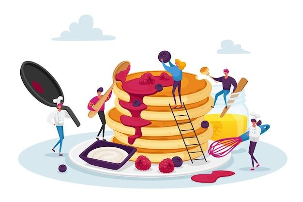 Kleine mannelijke en vrouwelijke personages koken en eten zelfgemaakte pannenkoeken